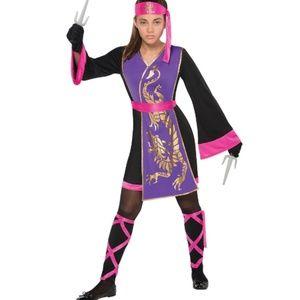 Girls Pink Purple Sassy Samurai Halloween Costume